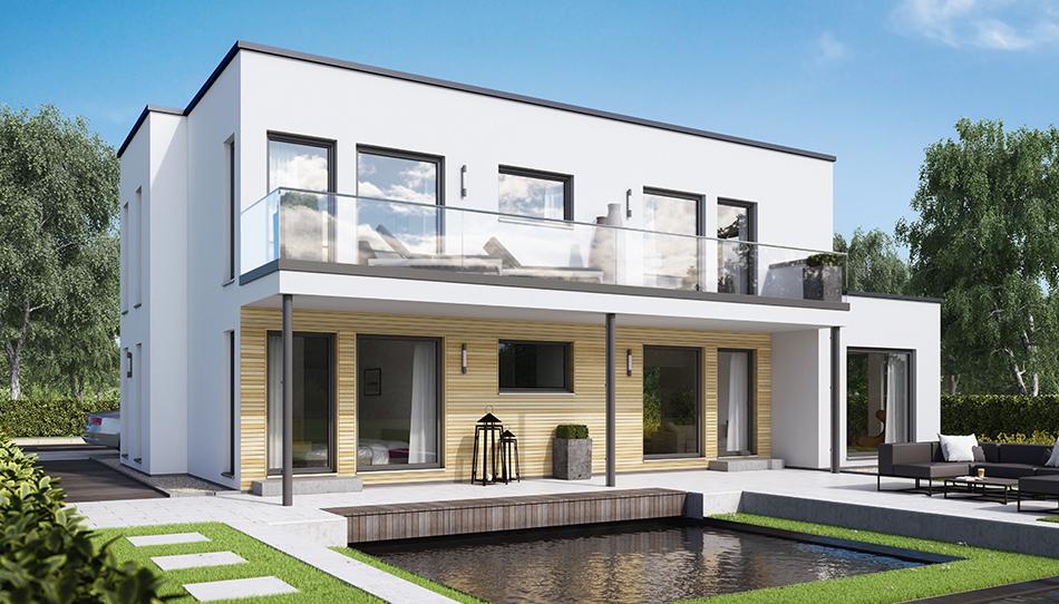 Zweifamilienhaus solution 151 v10 living fertighaus gmbh for Zweifamilienhaus flachdach